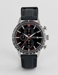 Sekonda chronograph leather watch in black - Black