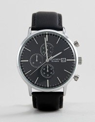 Sekonda Chronograph Leather Watch In Black Exclusive To ASOS - Black