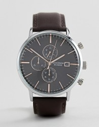 Sekonda Chronograph Leather Watch In Brown Exclusive To ASOS - Brown