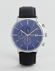 Sekonda Chronograph Leather Watch With Blue Dial Exclusive To ASOS - Black