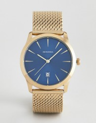 Sekonda contrast dial mesh watch in gold - Gold