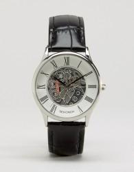 Sekonda Exposed Mechanical Skeleton Leather Watch In Black Exclusive To ASOS - Black