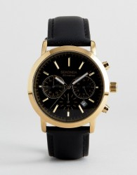 Sekonda Leather Black Chronograph Watch In Gold Exclusive To ASOS - Black