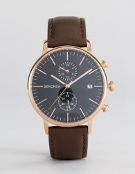 Sekonda Leather Chronograph Watch In Brown/Rose Gold - Brown
