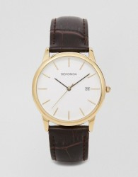 Sekonda Leather Strap Watch With Gold Plated Dial Exclusive to ASOS - Brown