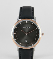 Sekonda Leather Watch In Black Exclusive To ASOS - Black