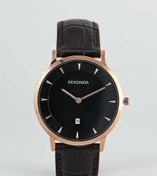 Sekonda Leather Watch In Brown Exclusive To ASOS - Brown