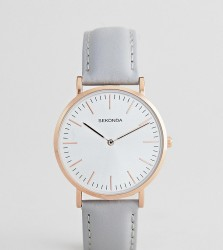 Sekonda Leather Watch In Grey Exclusive To ASOS - Grey