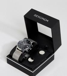Sekonda Silver Mesh Watch & Cufflinks Gift Set - Silver