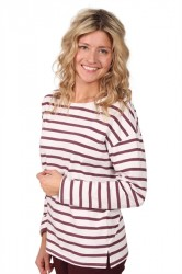 Selected Femme - Bluse - Natali LS Boatneck - Catawba Grape Stripes