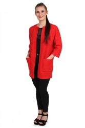 Selected Femme - Cardigan - SF Darla 3/4 Knit Cardigan - Flame Scarlet