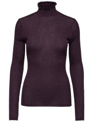 Selected Femme Costa ls knit rib frill highne (MØRKLILLA, S)