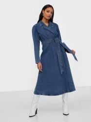 Selected Femme Slfharper Ls Fray Blue Denim Dress Langærmede kjoler