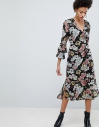Selected Femme Wrap Midi Dress With Ruffle Sleeves - Multi