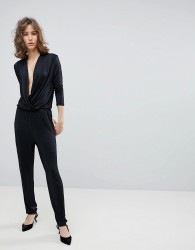 Selected Femme Wrap Slinky Jumpsuit - Black