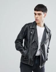 Selected Homme Distressed Leather Biker Jacket - Black
