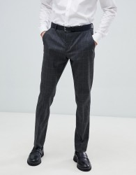 Selected Homme Grey Suit Trouser With Grid Check In Slim Fit - Navy
