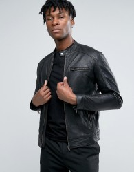 Selected Homme Leather Biker Jacket - Black