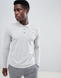 Selected Homme Long Sleeve Polo Shirt In Slim Fit - Grey