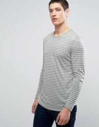 Selected Homme Longline Stripe Long Sleeve Tee - Green