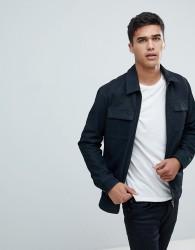 Selected Homme Nubuck Premium Leather Jacket - Navy