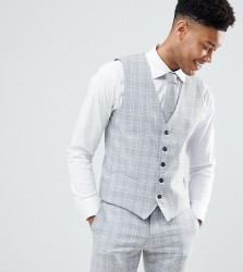 Selected Homme Skinny Fit Waistcoat In Grey Check - Grey