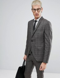 Selected Homme Skinny Suit Jacket In Check - Brown