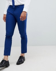 Selected Homme Skinny Suit Trouser In Blue With Stretch - Blue