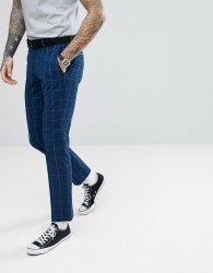 Selected Homme Skinny Suit Trousers In Grid Check - Blue