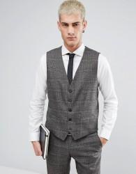 Selected Homme Skinny Waistcoat In Check - Brown