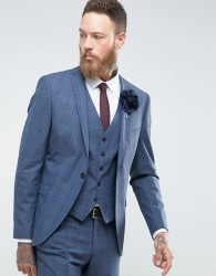 Selected Homme Skinny Wedding Suit Jacket In Blue Check - Blue