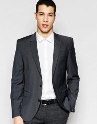 Selected Homme Slim Suit Jacket In Charcoal Wool Blend - Grey