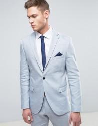 Selected Homme Slim Suit Jacket In Linen - Blue