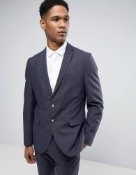 Selected Homme Slim Suit Jacket in Linen Mix - Navy
