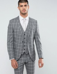 Selected Homme Slim Suit Jacket In Salt n Pepper Check - Grey