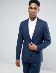 Selected Homme Slim Suit Jacket in Tonal Check - Navy