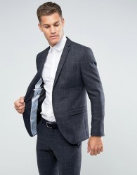 Selected Homme Slim Suit Jacket in Wool Mix with Grid Check - Navy