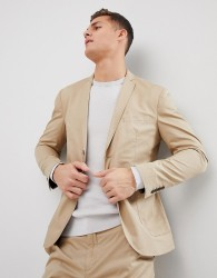 Selected Homme Slim Suit Jacket With Patch Pocket - Beige
