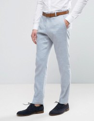 Selected Homme Slim Suit Trousers In Linen - Blue