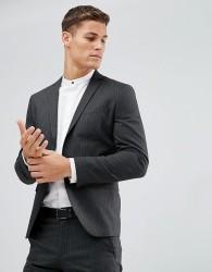 Selected Homme Suit Jacket In Pinstripe - Grey