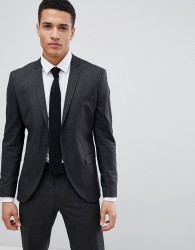 Selected Homme Suit Jacket In Pinstripe - Grey