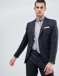 Selected Homme Suit Jacket In Slim Fit With Micro Grid Detail - Navy