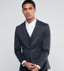Selected Homme Suit Jacket with Brushed Tonal Check in Skinny Fit - Grey