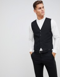 Selected Homme suit waistcoat with stretch in slim fit - Black