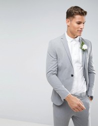 Selected Homme Super Skinny Wedding Suit Jacket With Stretch - Grey