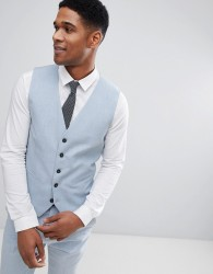 Selected Homme Super Skinny Wedding Waistcoat - Blue