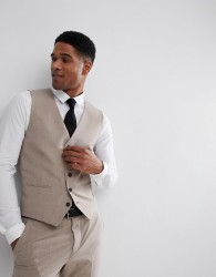 Selected Homme Super Skinny Wedding Waistcoat - Stone