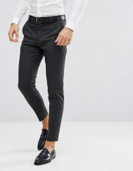 Selected Homme Tapered Suit Trousers In Pinstripe - Grey