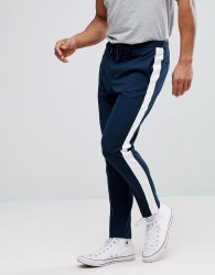 Selected Homme Tapered Trousers With Stripe - Navy