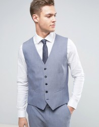 Selected Homme Wedding Super Skinny Waistcoat - Blue